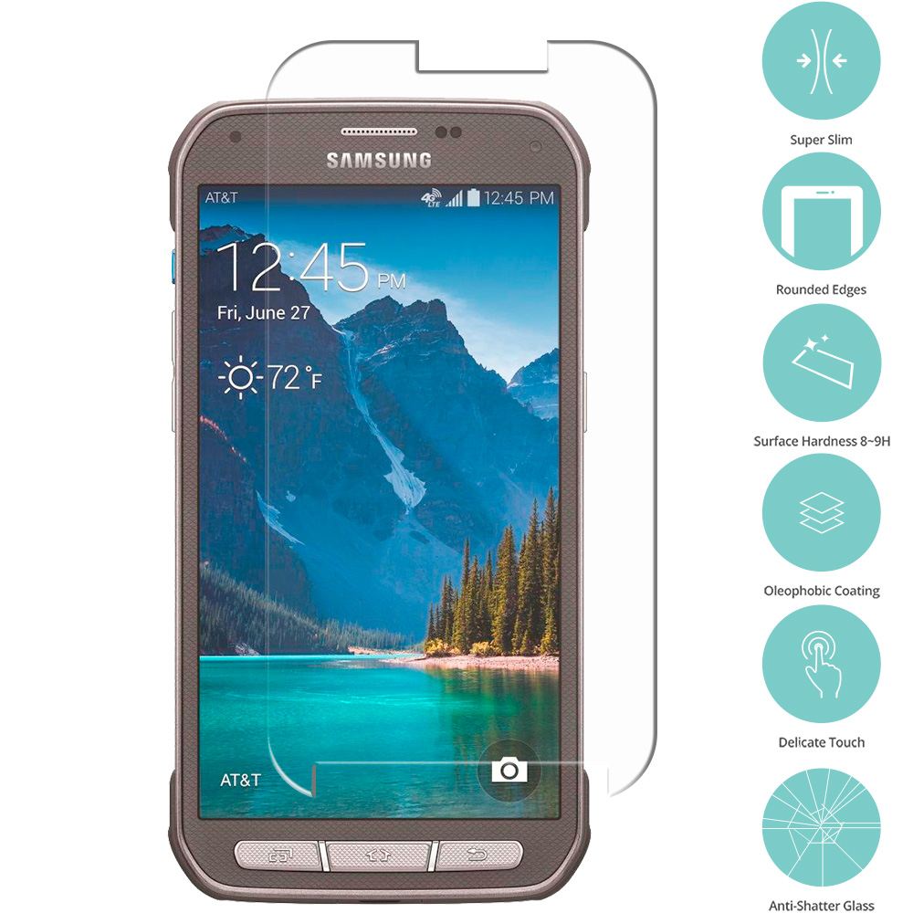 Samsung Galaxy S5 Active Clear Tempered Glass Film Screen Protector Clear