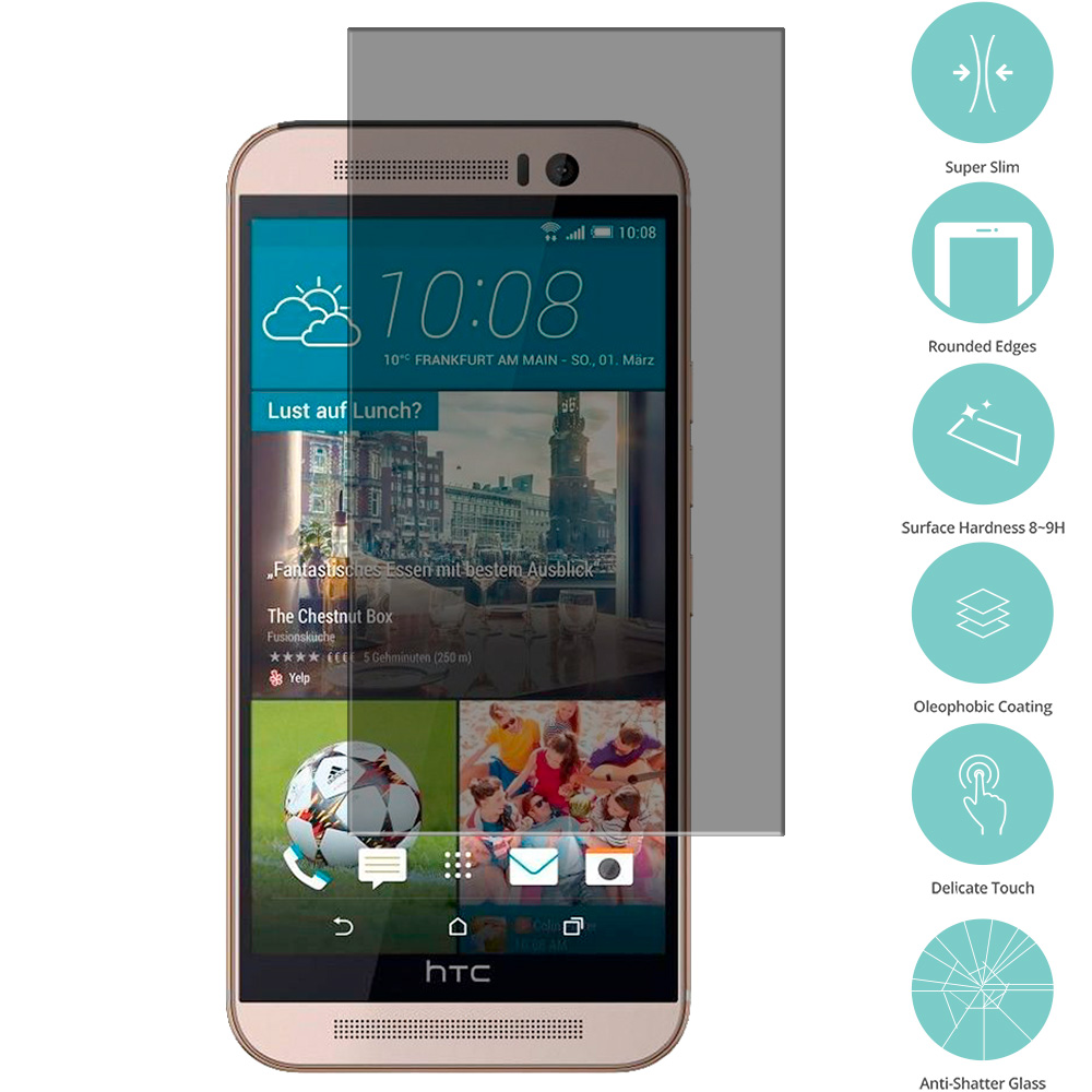 HTC One M9 Privacy Tempered Glass Film Screen Protector