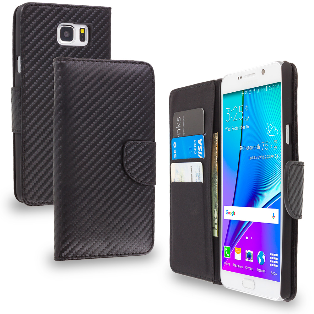 Samsung Galaxy Note 5 Wallet Carbon Fiber Leather Wallet Pouch Case Cover with Slots