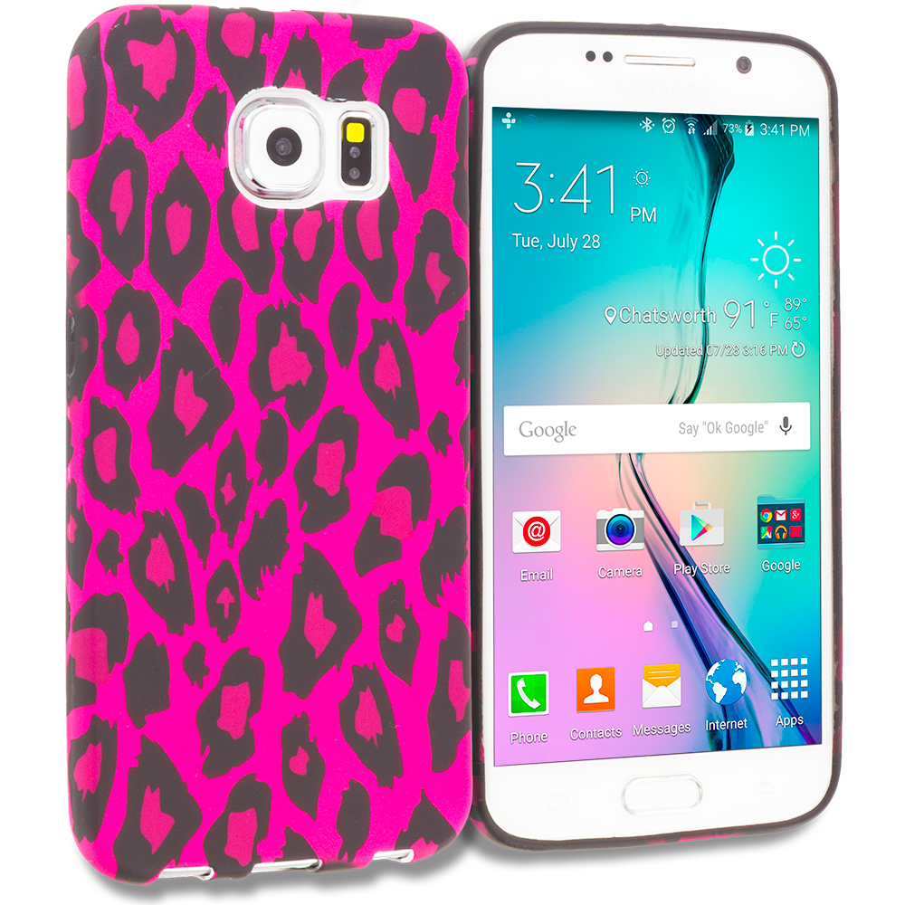 Samsung Galaxy S6 Pink Black Leopard TPU Design Soft Rubber Case Cover