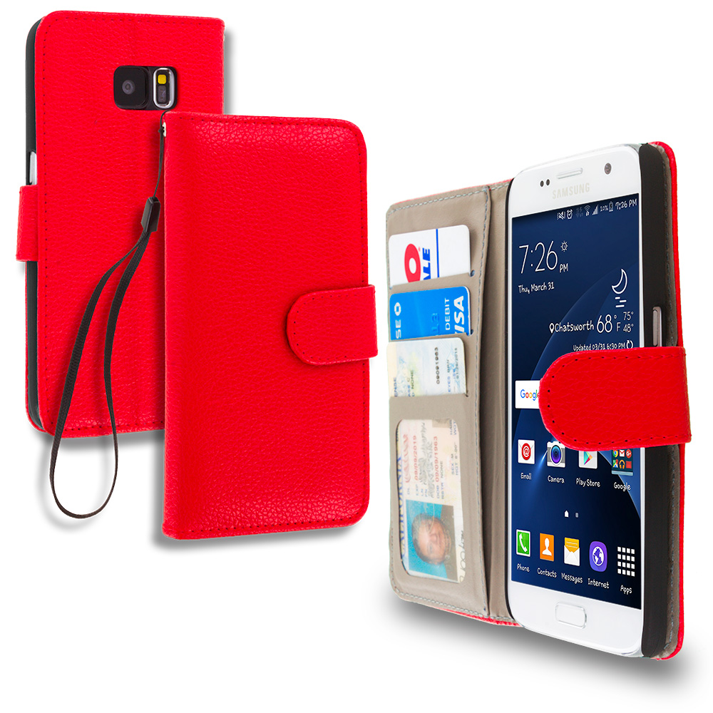 Samsung Galaxy S7 Combo Pack : Red Leather Wallet Pouch Case Cover with Slots : Color Red