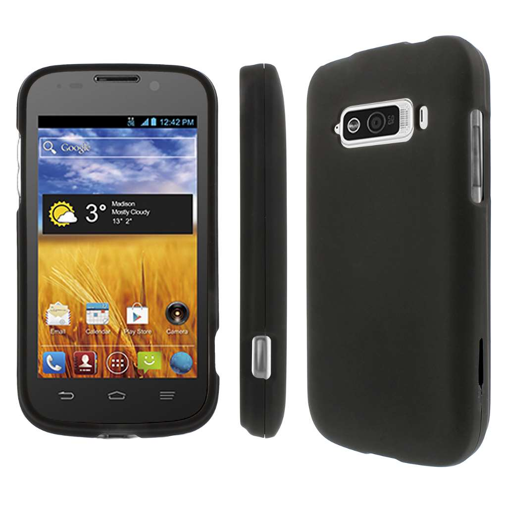 ZTE Imperial MPERO Full Protection Hard Rubberized Black Case Cover