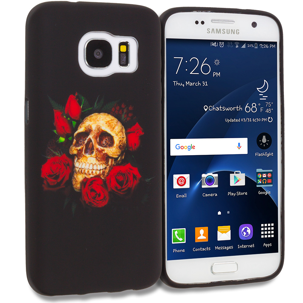 Samsung Galaxy S7 Edge Red Rose Skull TPU Design Soft Rubber Case Cover