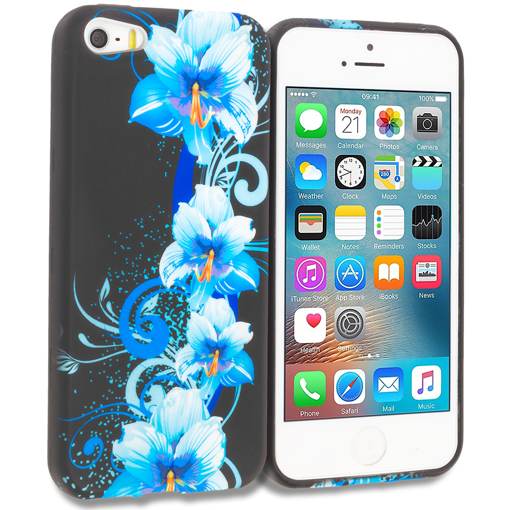 Apple iPhone 5 Blue Flowers TPU Design Soft Rubber Case Cover