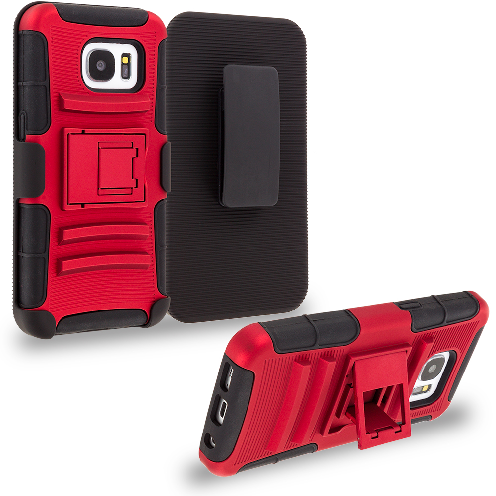 Samsung Galaxy S7 Combo Pack : Black Hybrid Heavy Duty Rugged Case Cover with Belt Clip Holster : Color Red