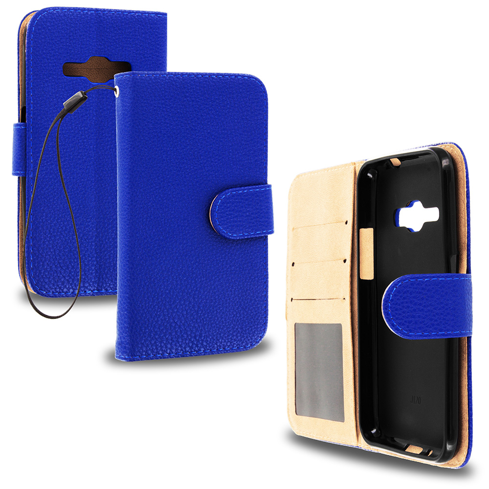 For Samsung Galaxy J1 2016 / Amp 2 / Express 3 / Luna S120 Blue Leather Wallet Pouch Case Cover with Slots