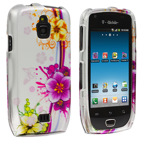 Samsung Exhibit 4G T759 Purple Flower Chain Design Crystal Hard Case Cover