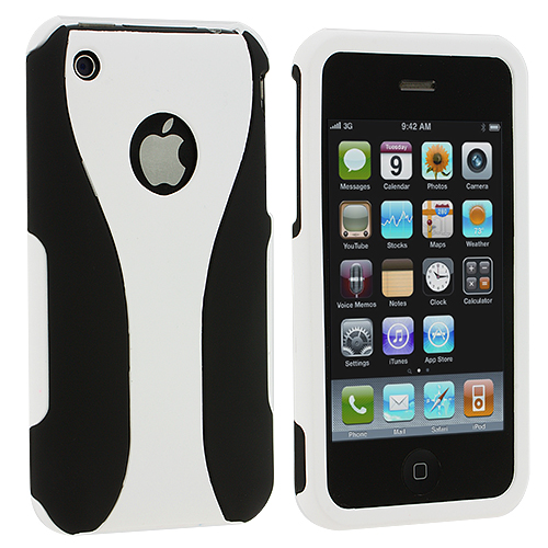Apple iPhone 3G / 3GS Black / White Hard Rubberized 3-Piece Case Cover
