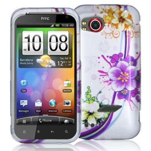 HTC Rezound 4G Purple Flower Chain Design Crystal Hard Case Cover