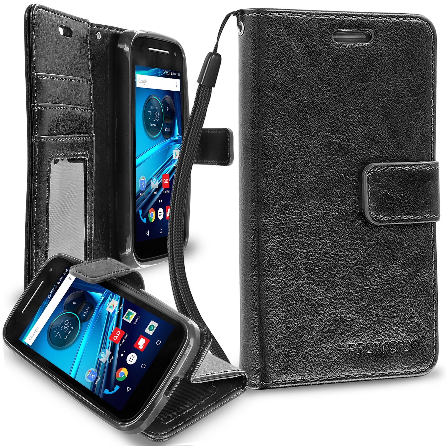 Motorola Moto E LTE 2nd Generation Black ProWorx Wallet Case Luxury PU Leather Case Cover With Card Slots & Stand