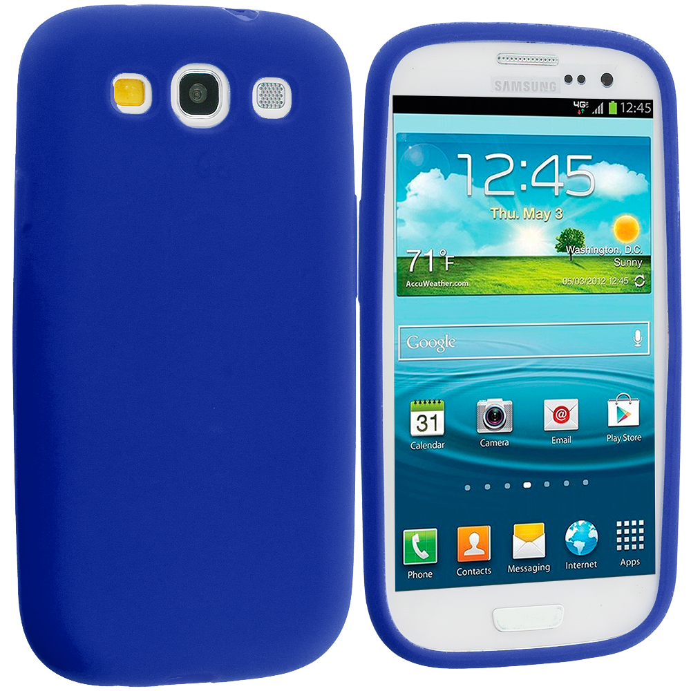 Samsung Galaxy S3 Blue Silicone Soft Skin Case Cover
