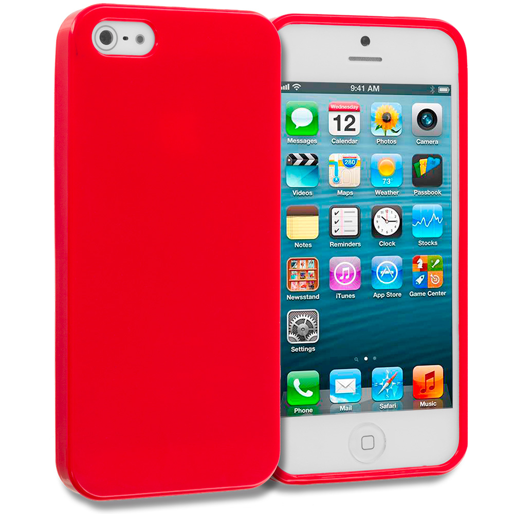 Apple iPhone 5/5S/SE Red Solid TPU Rubber Skin Case Cover