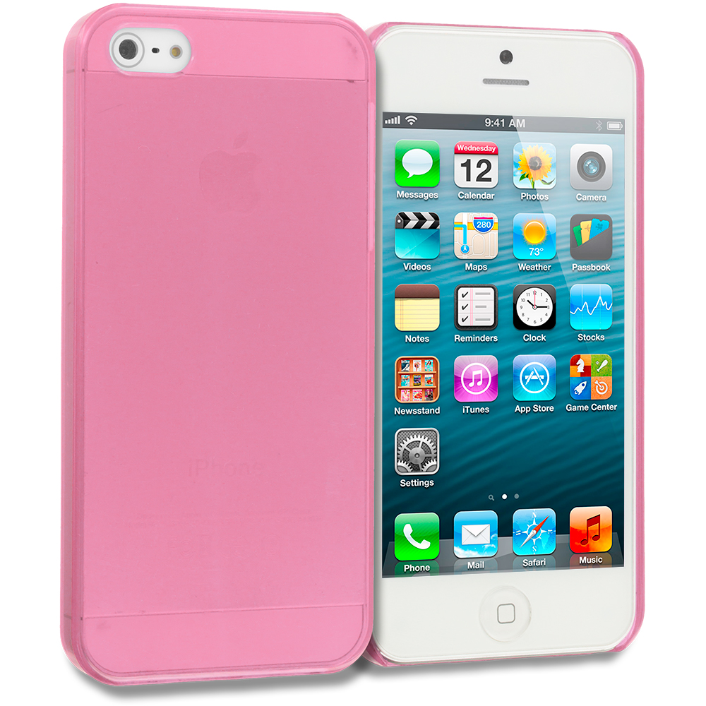 Apple iPhone 5/5S/SE Combo Pack : Baby Blue Crystal Hard Back Cover Case : Color Light Pink