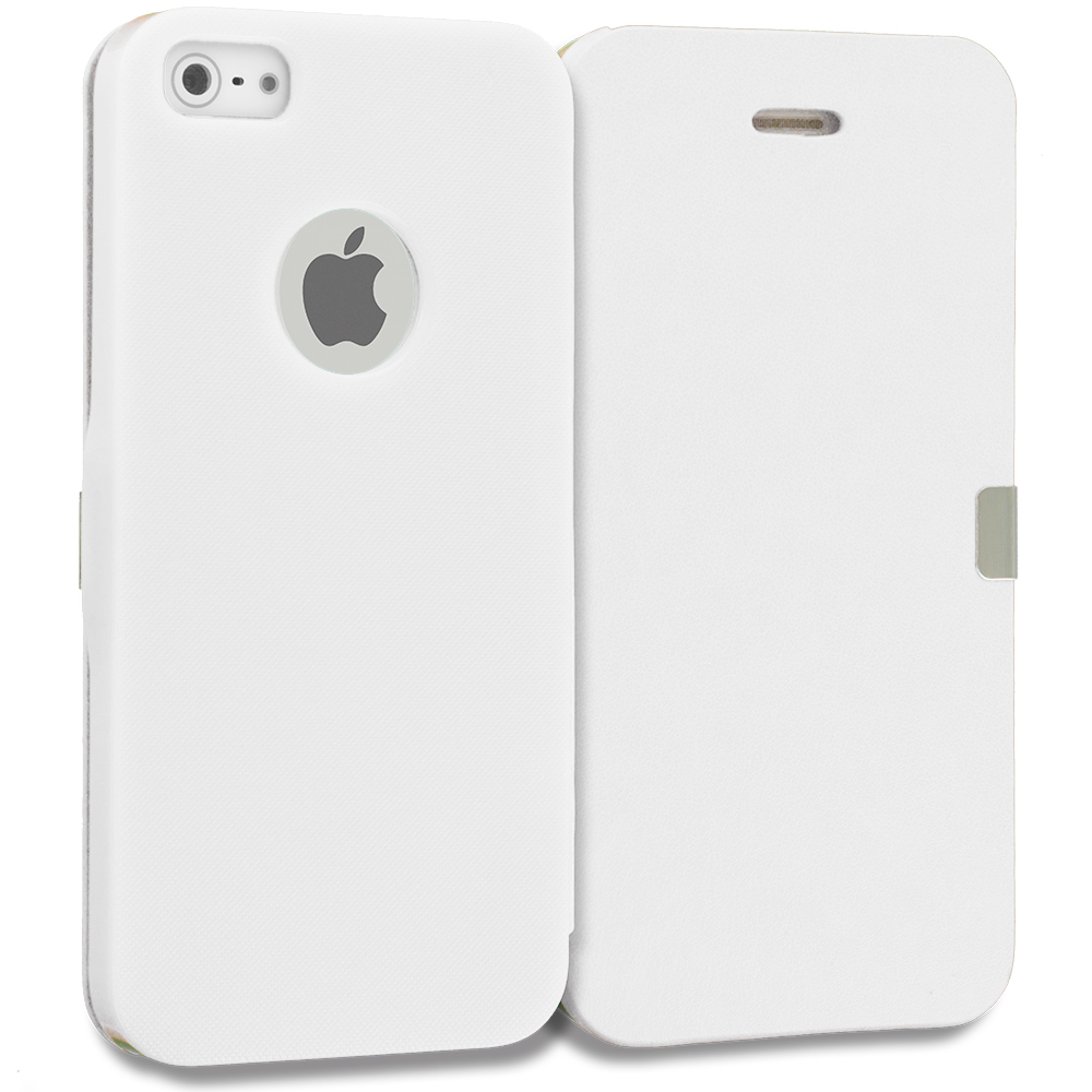 Apple iPhone 5/5S/SE Combo Pack : Red Smooth Magnetic Wallet Case Cover Pouch : Color White Smooth