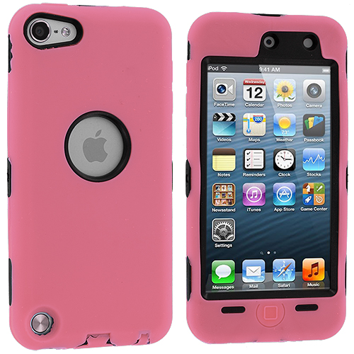 Apple iPod Touch 5th 6th Generation 2 in 1 Combo Bundle Pack - Pink Black Deluxe Hybrid Deluxe Hard/Soft Case Cover : Color Pink Deluxe