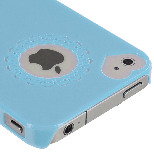 Apple iPhone 4 / 4S Baby Blue Heart Hard Rubberized Back Cover Case