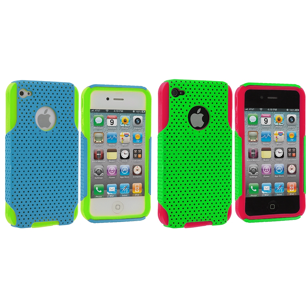Apple iPhone 4 / 4S 2 in 1 Combo Bundle Pack - Neon Green / Baby Blue Red Hybrid Mesh Hard/Soft Case Cover