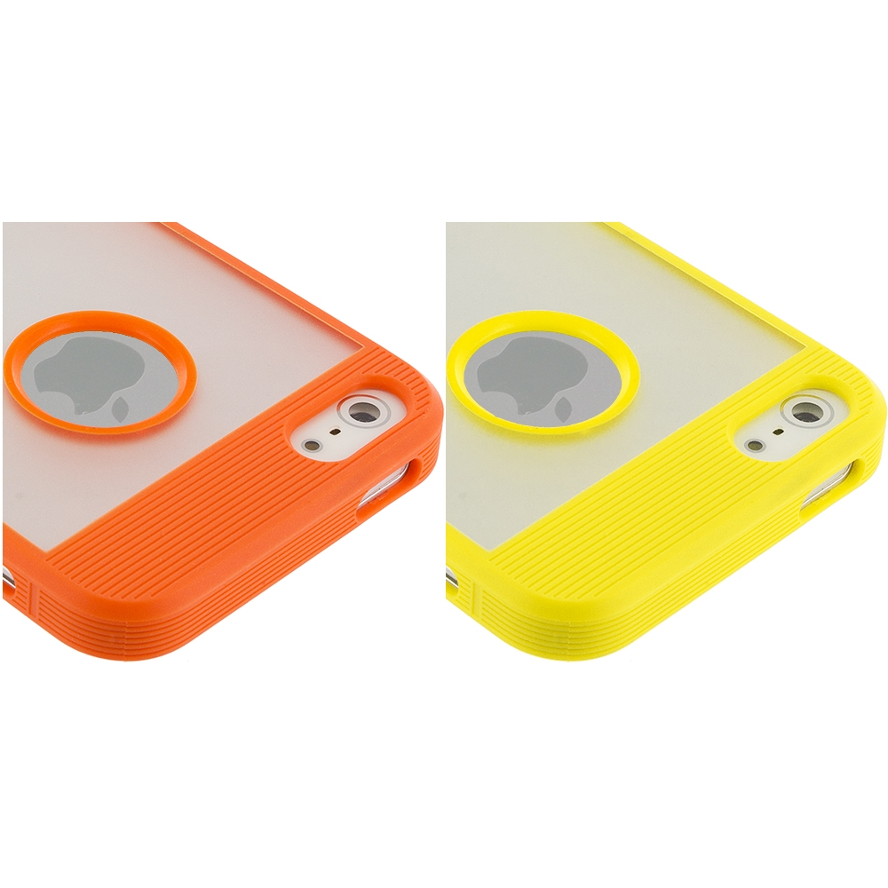 Apple iPhone 5/5S/SE Combo Pack : Orange Crystal TPU Hybrid TPU Case Cover