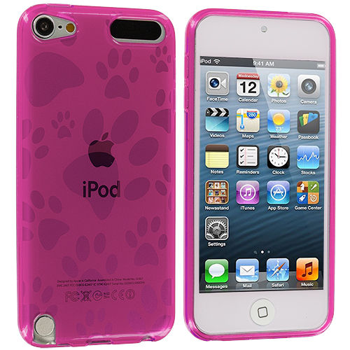 Apple iPod Touch 5th 6th Generation Hot Pink Dog Paw TPU Rubber Skin Case Cover