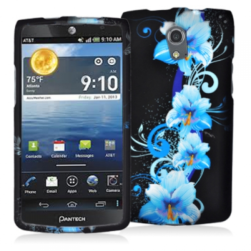 Pantech Discover Blue Flowers Hard Rubberized Design Case Cover