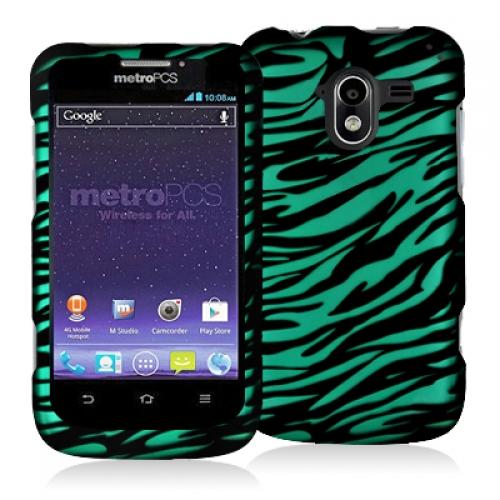 ZTE Avid 4G N9120 Black / Baby Blue Zebra Hard Rubberized Design Case Cover