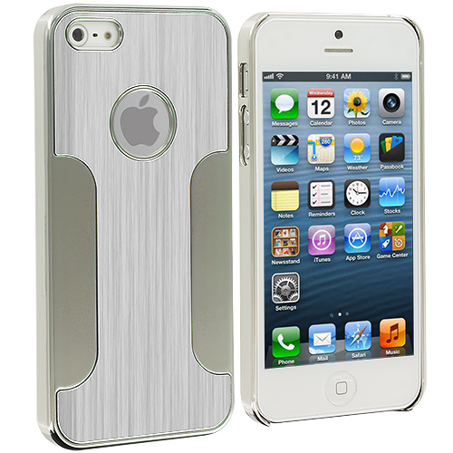 Apple iPhone 5/5S/SE Combo Pack : Black Brushed Metal Aluminum Metal Hard Case Cover : Color Silver Brushed Metal