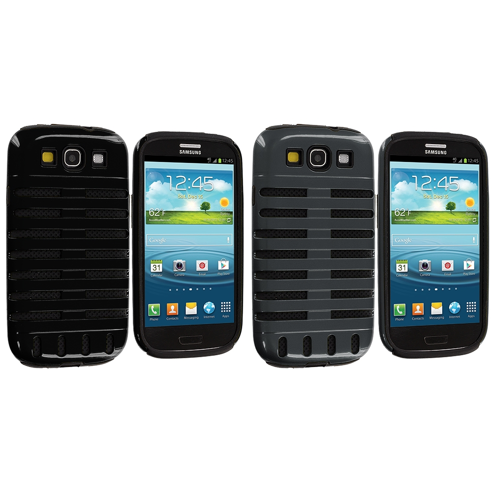 Samsung Galaxy S3 2 in 1 Combo Bundle Pack - Black / Gray Hybrid Ribs Hard/Soft Case Cover