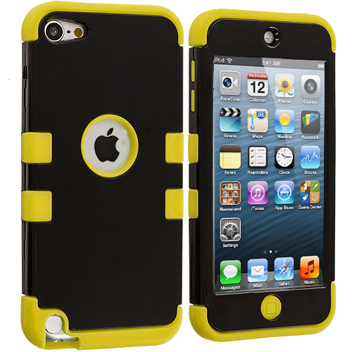 Apple iPod Touch 5th 6th Generation Yellow / Black Hybrid Tuff Hard/Soft 3-Piece Case Cover