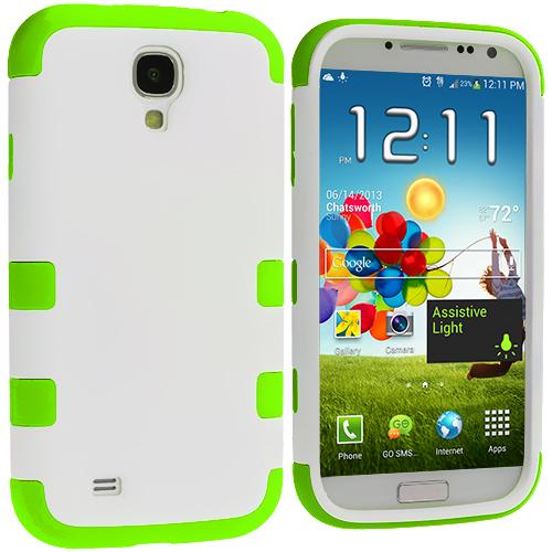 Samsung Galaxy S4 Neon Green / White Hybrid Tuff Hard/Soft 3-Piece Case Cover