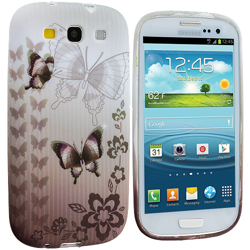 Samsung Galaxy S3 Black Butterfly TPU Design Soft Case Cover