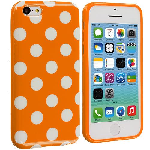 Apple iPhone 5C Orange / White TPU Polka Dot Skin Case Cover