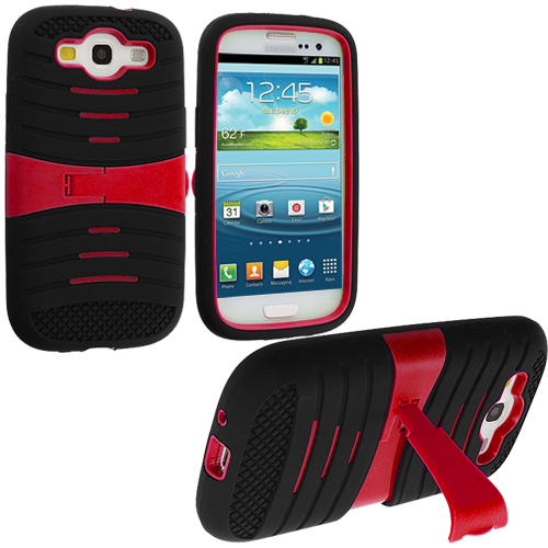 Samsung Galaxy S3 Black / Red Hybrid Hard/Silicone Case Cover with Stand