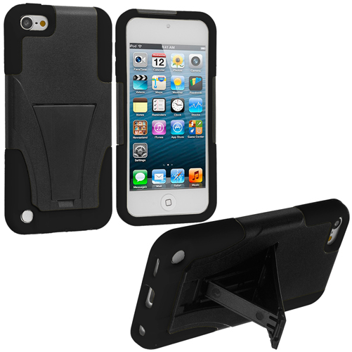 Apple iPod Touch 5th 6th Generation Black / Black Hybrid Hard/Silicone Case Cover with Stand
