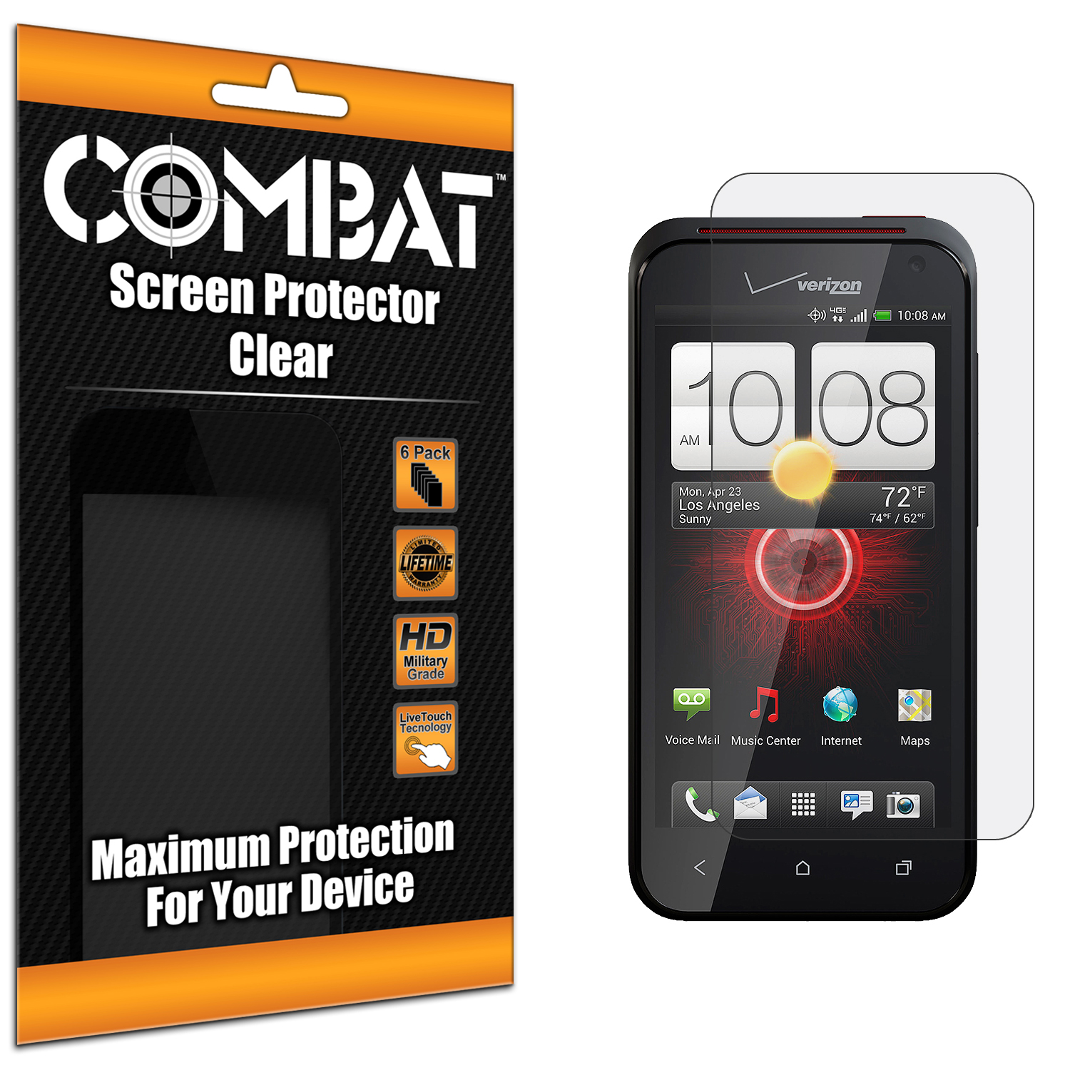 HTC Droid Incredible 4G LTE 6410 Combat 6 Pack HD Clear Screen Protector