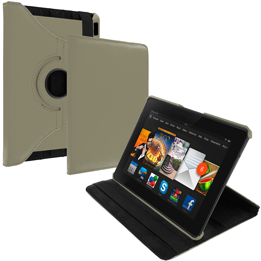 Amazon Kindle Fire HDX 8.9 Gray 360 Rotating Leather Pouch Case Cover Stand
