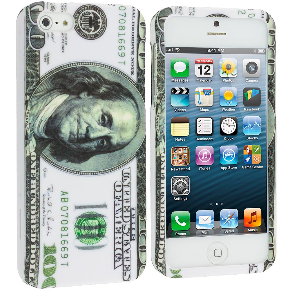 Apple iPhone 5/5S/SE Hundred Dollar on White Hard Rubberized Design Case Cover