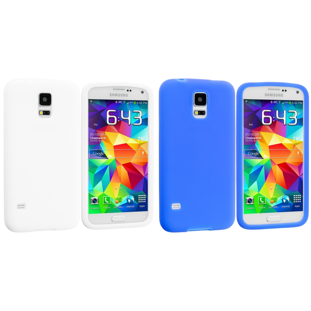 Samsung Galaxy S5 2 in 1 Combo Bundle Pack - White Blue Silicone Soft Skin Case Cover