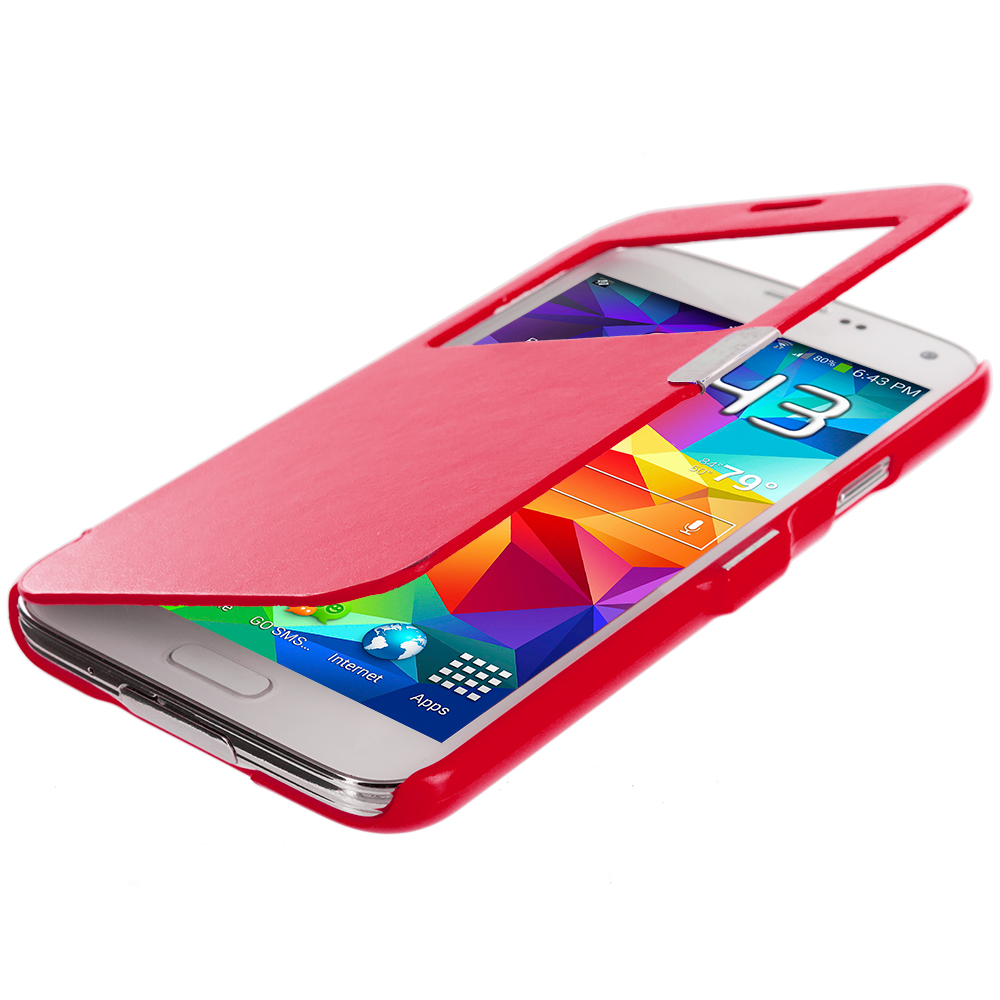 Samsung Galaxy S5 Red (Open Front) Magnetic Wallet Case Cover Pouch