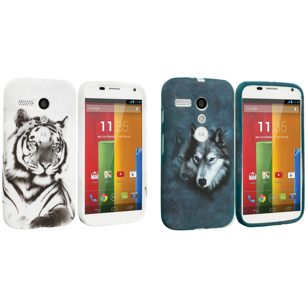 Motorola Moto G 2 in 1 Combo Bundle Pack - White Wolf Tiger TPU Design Soft Case Cover