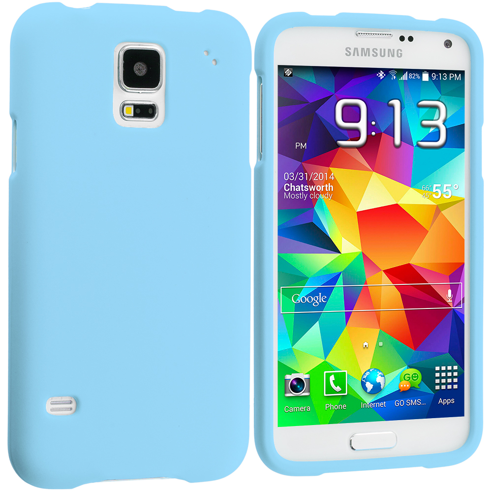 Samsung Galaxy S5 Baby Blue Hard Rubberized Case Cover