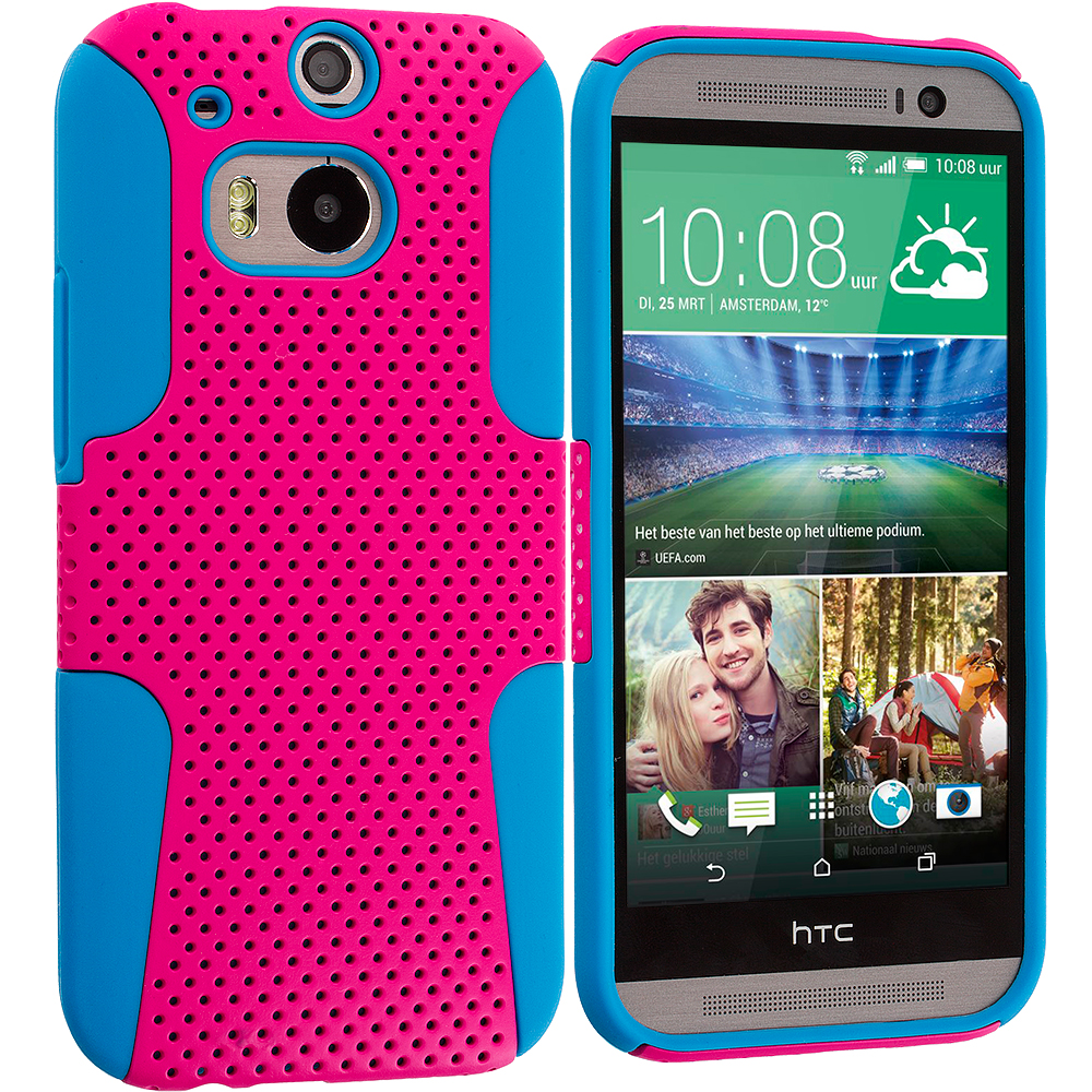HTC One M8 Baby Blue / Hot Pink Hybrid Mesh Hard/Soft Case Cover