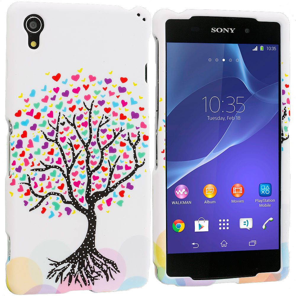 Sony Xperia Z2 Love Tree on White Hard Rubberized Design Case Cover