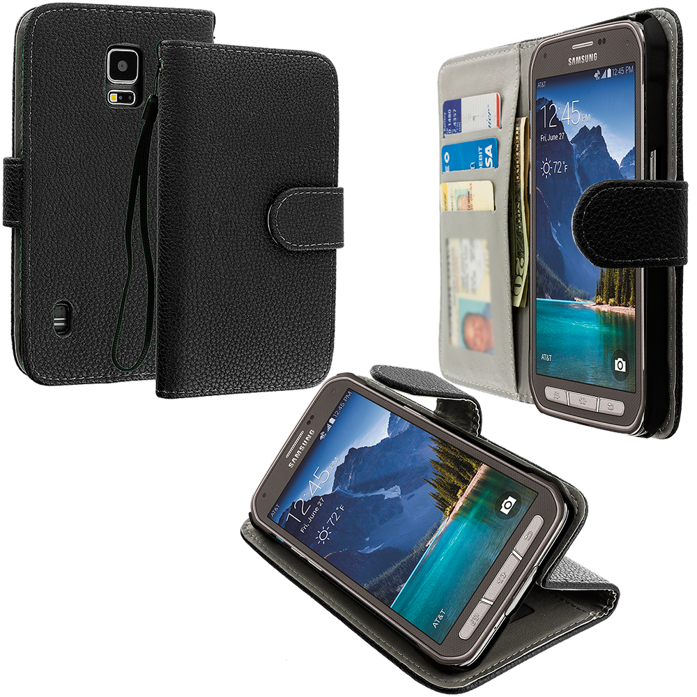 Samsung Galaxy S5 Active Black Leather Wallet Pouch Case Cover with Slots