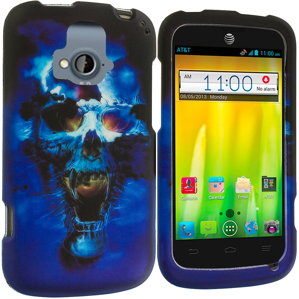 ZTE Radiant Blue Skulls 2D Hard Rubberized Design Case Cover