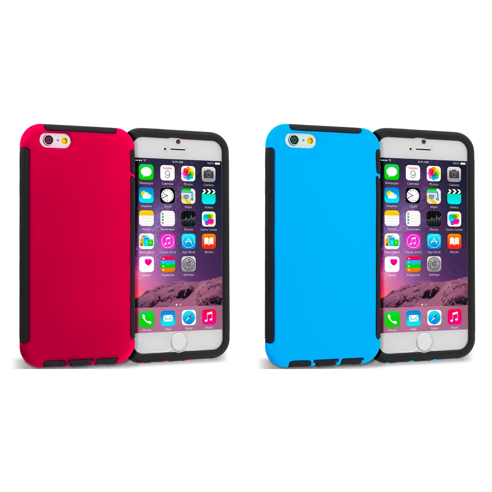 Apple iPhone 6 Plus 6S Plus (5.5) 2 in 1 Combo Bundle Pack - Hybrid Hard TPU Shockproof Case Cover With Built in Screen Protector