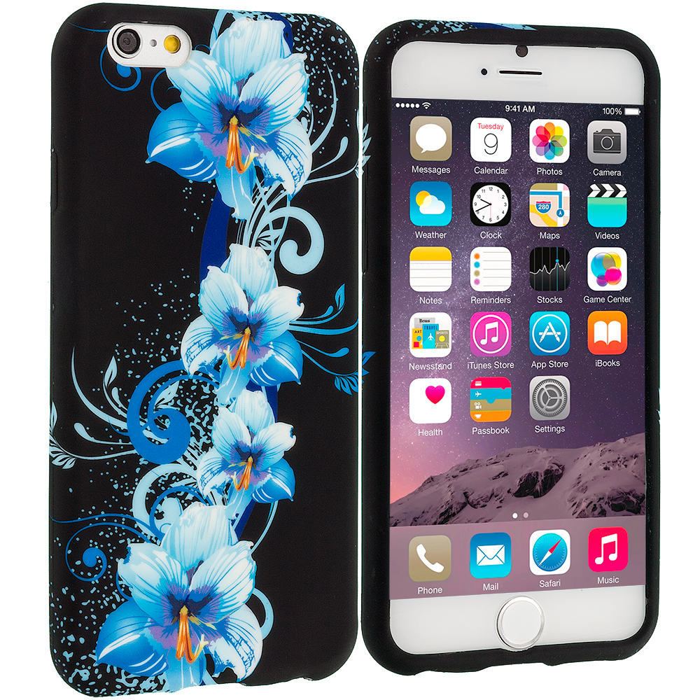 Apple iPhone 6 Plus 6S Plus (5.5) Blue Flowers TPU Design Soft Rubber Case Cover