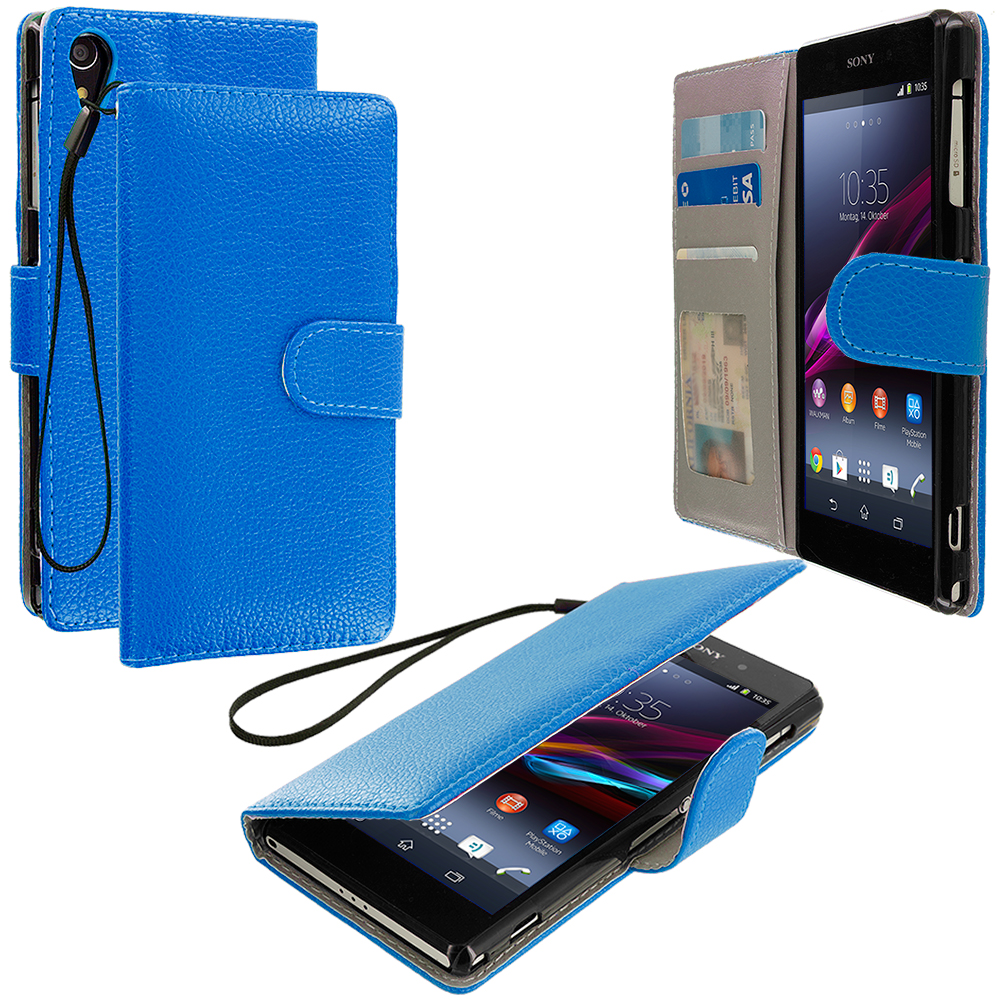 Sony Xperia Z1 Blue Leather Wallet Pouch Case Cover with Slots