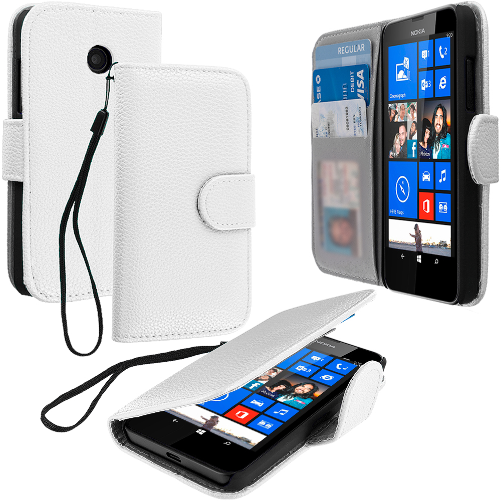 Nokia Lumia 520 White Leather Wallet Pouch Case Cover with Slots