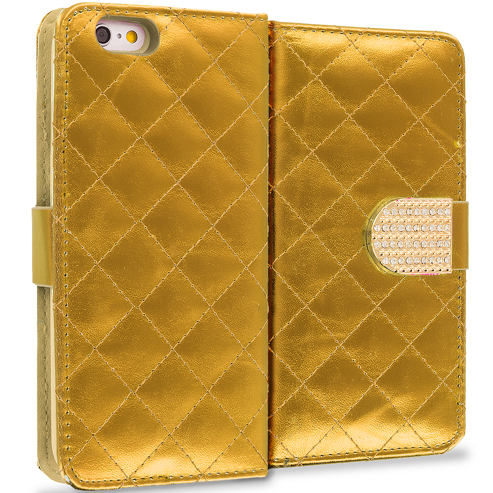 Apple iPhone 6 Plus 6S Plus (5.5) Gold Luxury Wallet Diamond Design Case Cover With Slots