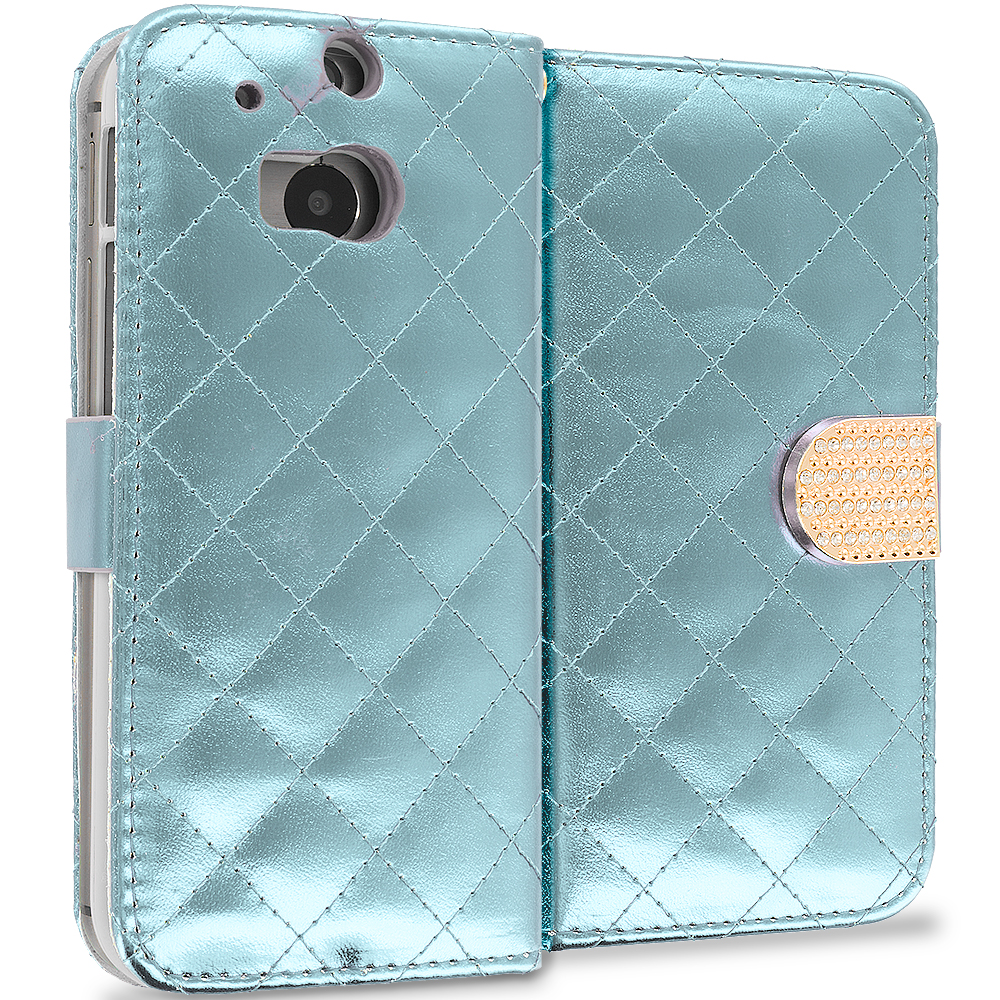 HTC One M8 White Luxury Wallet Diamond Design Case Cover With Slots